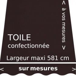 Toile unie couleur chocolat et lambrequin en forme de vague