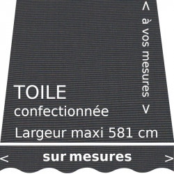 Toile unie couleur gris tweed Charcoal, avec lambrequin vague