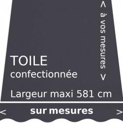 Toile unie gris carbone confectionnée à vos mesures avec lambrequin en forme de vague