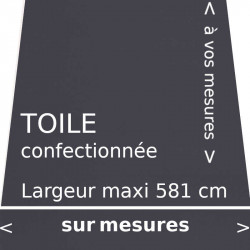 Toile unie gris carbone confectionnée à vos mesures avec lambrequin de forme droite