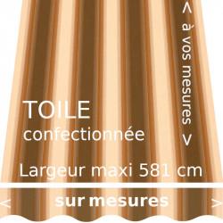 Toile fantaisie marron foncée, marron clair, crème. Modèle Baden-Baden avec lambrequin vague