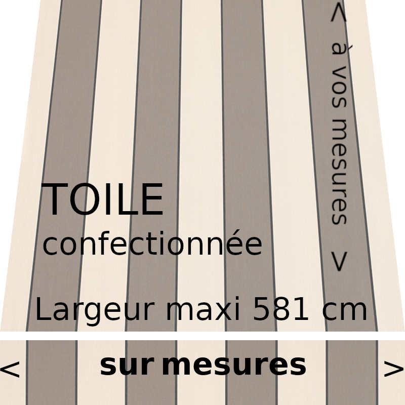 Toile rayée de la collection Sienne grège. Lambrequin droit