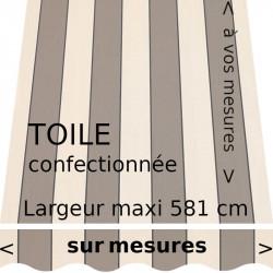 Toile rayée de la collection Sienne grège. Lambrequin vague