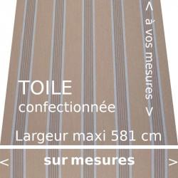 Toile collection Manosque couleur grège foncée avec lambrequin droit.