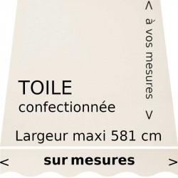 Toile acrylique unie couleur blanc écrue confectionnée à vos mesures avec lambrequin de forme vague