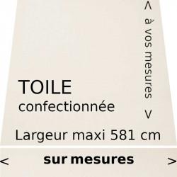 Toile acrylique unie couleur blanc écrue confectionnée à vos mesures avec lambrequin droit