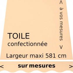 Toile unie couleur Champagne et son lambrequin de forme vague