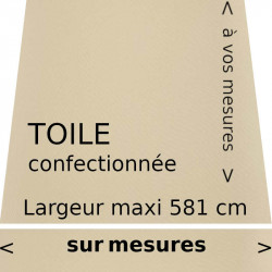 Toile acrylique unie couleur ivoire (RAL 1014) confectionnée vos dimensions avec lambrequin droit.