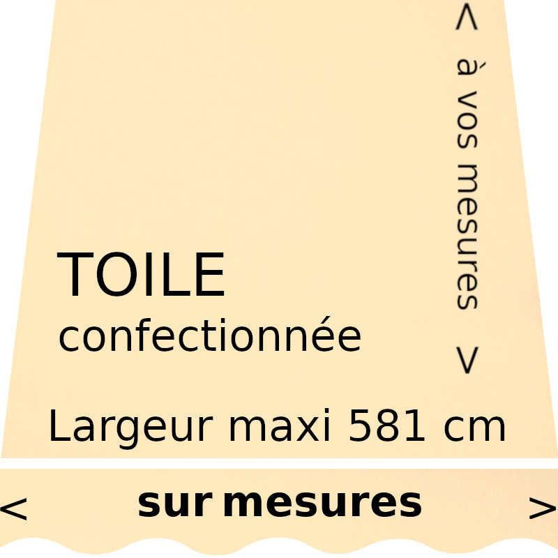 Toile unie couleur vanille (RAL 1015) (ivoire clair) et lambrequin en forme de vague