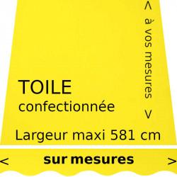 Toile acrylique couleur jaune citron (RAL 1016) et sur lambrequin vague : à vos dimensions