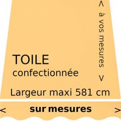 Toile unie couleur jaune paille (RAL 1023) avec lambrequin en forme de vague : votre toile aux dimensions de votre store