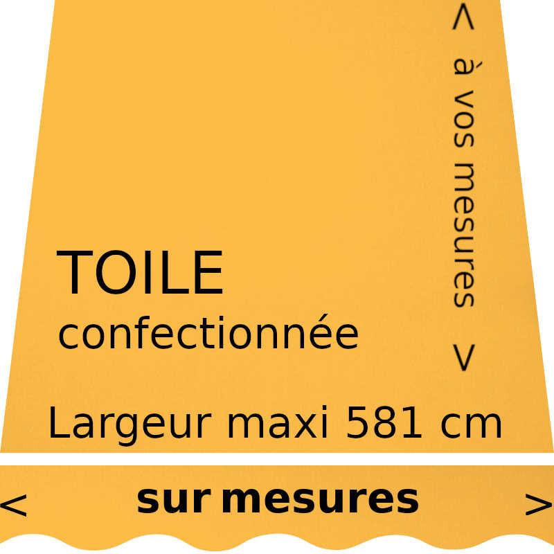 Toile unie couleur jaune (RAL 1003) confectionnée à vos dimensions avec lambrequin en forme de vague