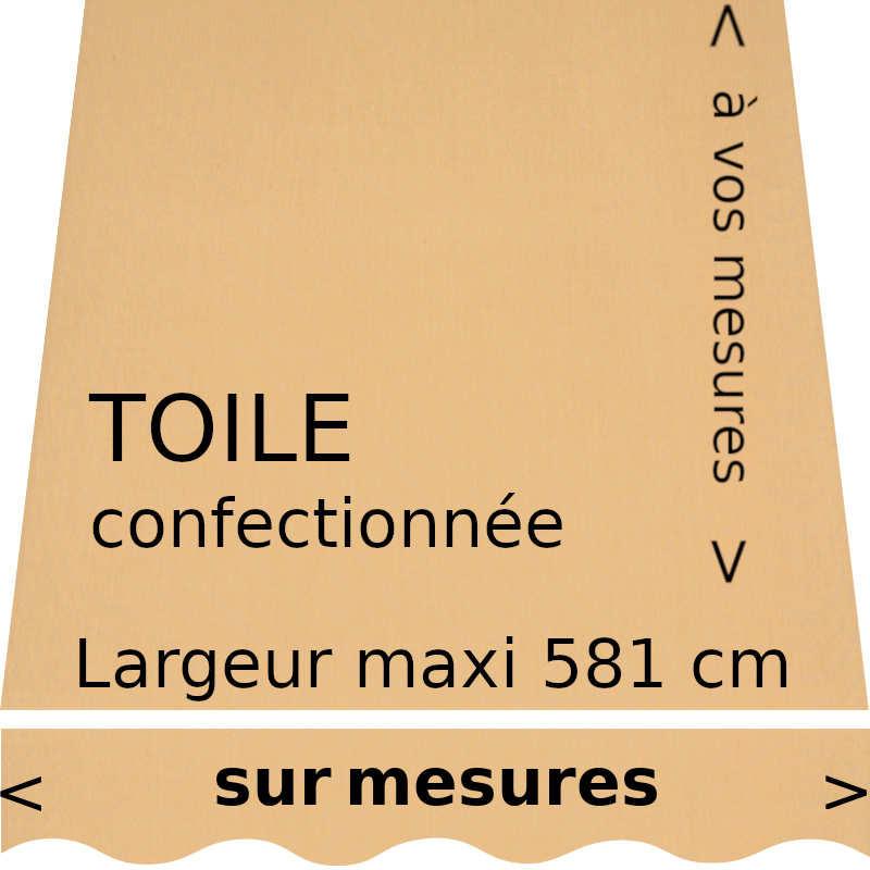 Toile acrylique couleur blé (RAL 1017 jaune safran) et son lambrequin de forme vague