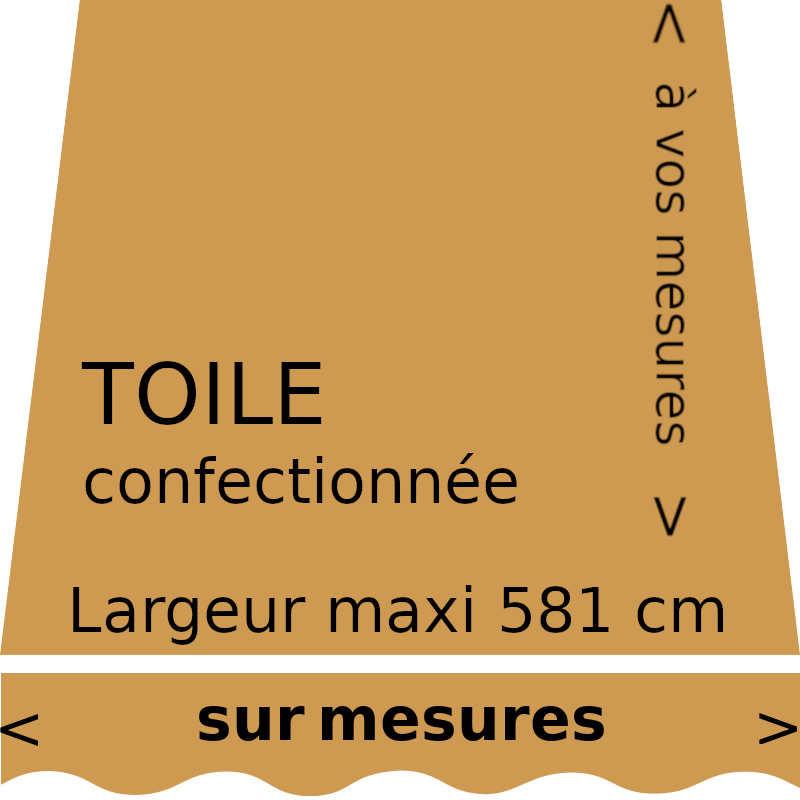 Toile de store couleur unie curry (RAL 1024) (ocre jaune) et sur lambrequin vague