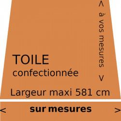 Toile unit couleur sable = brun orangé (RAL 8023). Toile de store lambrequin droit à vos mesures.