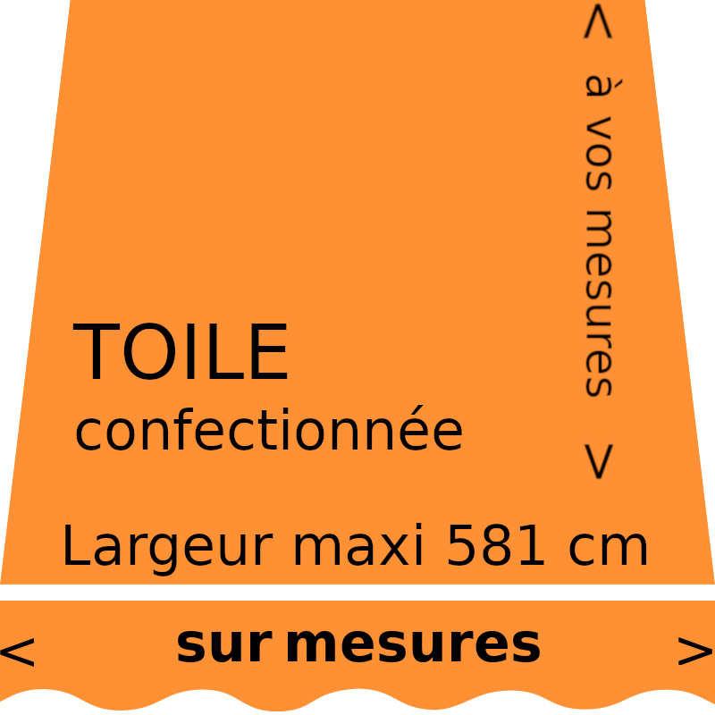 Toile unie couleur mandarine (RAL 2011) et son lambrequin en forme de vague. Aux dimensions de votre store.