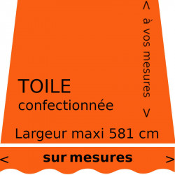 Toile unie couleur orange (RAL 2004) et son lambrequin en forme de vague. Choisissez vos dimensions.
