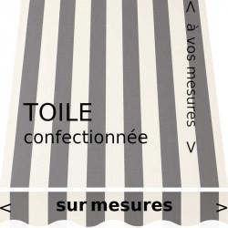 Toile acrylique design classique : rayures égales blanches et grises avec lambrequin en forme de vague.