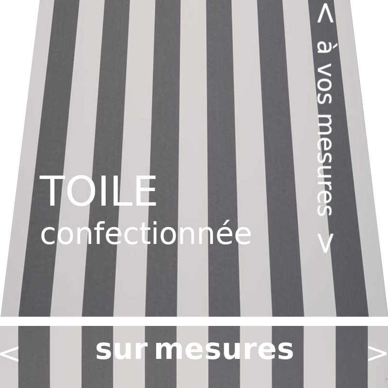 Toile au design classique à rayures égales gris ardoise et écrue. Confection vos dimensions avec lambrequin de forme droite
