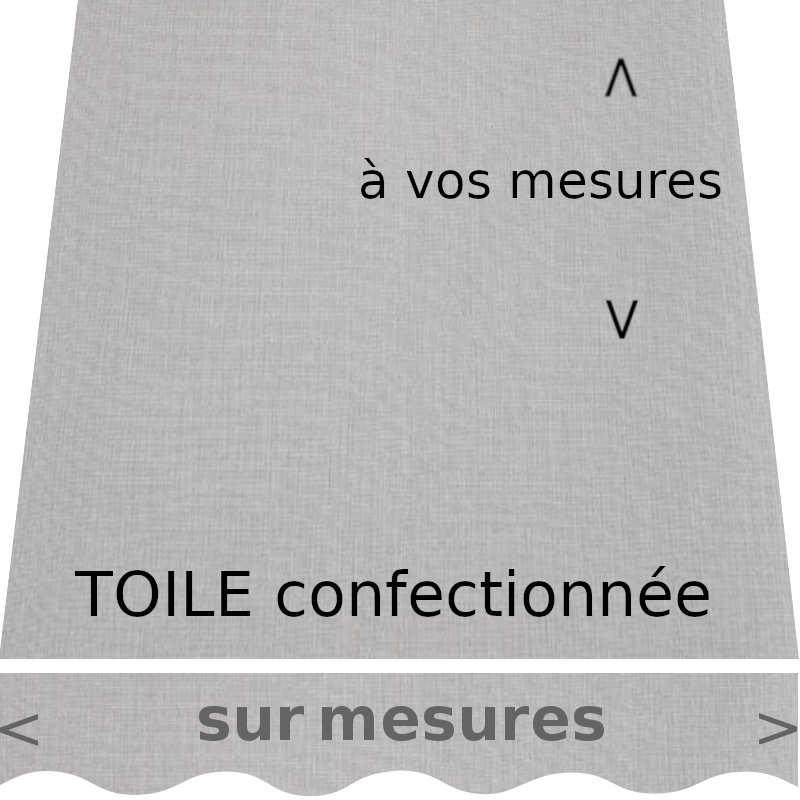 Toile de store couleur Gris Tweed, avec lambrequin de forme : vague