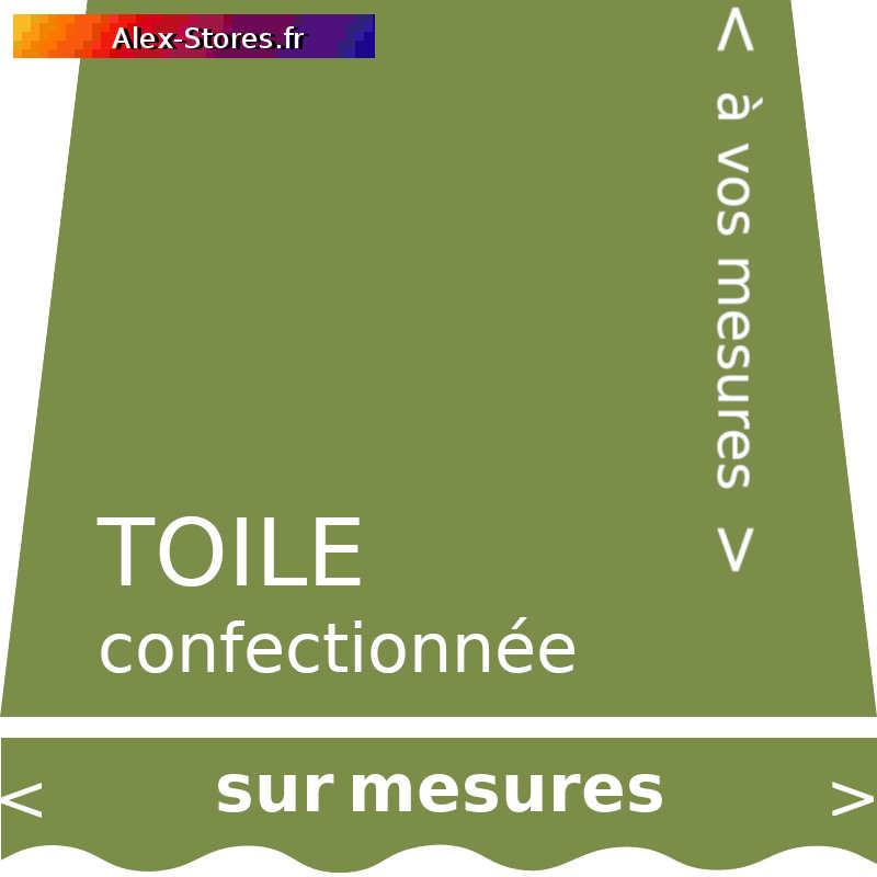 Toile vert amande confectionnée sur mesures aux dimensions de votre store avec lambrequin vague
