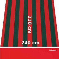 Store Lacanau 242 x 210 Rouge et vert et lambrequin vermillon