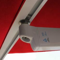 Store Lacanau 360 x 210 Rouge Cerise : détail de la jonction du bras et de la barre de charge
