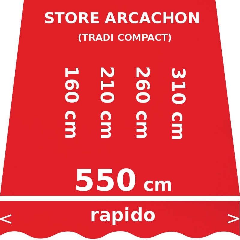Store Arcachon 550 cm Rouge Vermillon : dimensions