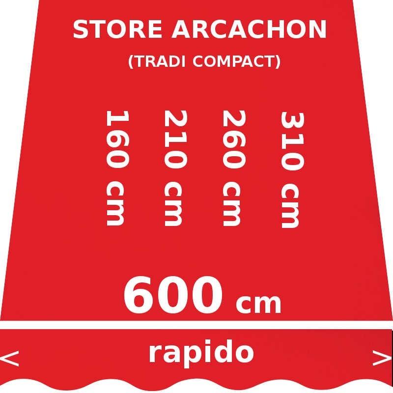 Store Arcachon 600 cm Rouge Vermillon : dimensions