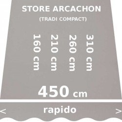 Store Arcachon 450 cm Gris : dimensions