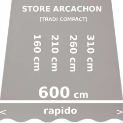 Store Arcachon 600 cm Gris : dimensions