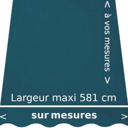Toile acrylique unie bleue Paon (RAL 5025 gentiane nacrée) et son lambrequin en forme de vague