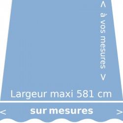 Toile unie couleur bleue saphir (RAL 5004 bleu pastel) et lambrequin en forme de vague