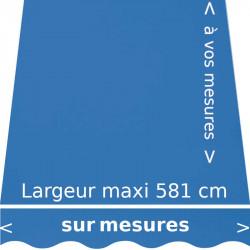 Toile pour store intérieur ou extérieur couleur Bleu Chardon (RAL 5007 bleu brillant) et lambrequin en forme de vague