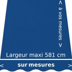 Bleu Méditerranée : toile acrylique confectionnée aux mesures de votre store avec lambrequin en forme de vagues