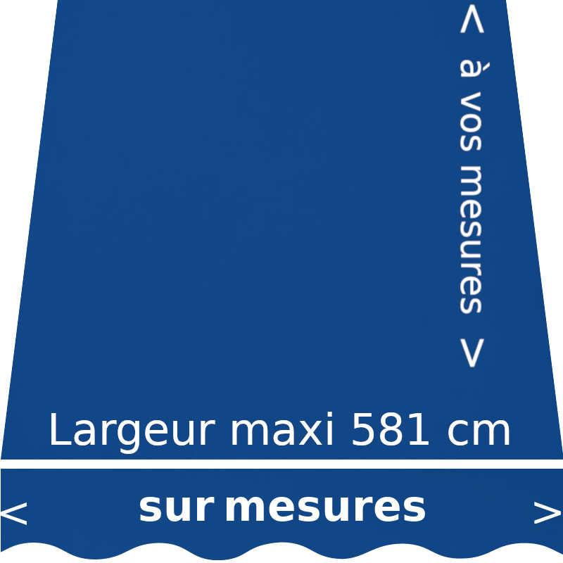 Toile acrylique couleur bleue océan (RAL 5002 bleu outre-mer) et sur lambrequin de forme vague. Aux dimensions de votre store.