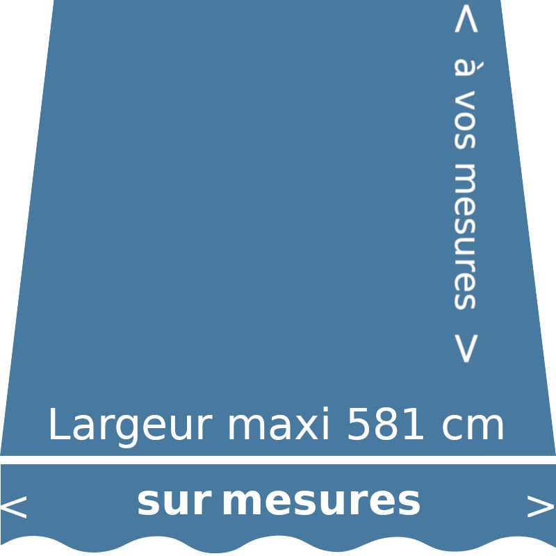Toile pour store extérieur et intérieur couleur bleu bleuet (RAL 5024 bleu pastel) et lambrequin vague