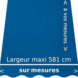 Toile acrylique couleur unie bleue (RAL 5017) et lambrequin forme vagues : confection de la toile dimension de votre store