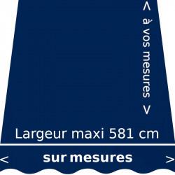 Toile unie couleur bleu marine (RAL 5013 bleus cobalt ) et son lambrequin en forme de vague. Fabriquée aux dimensions de votre s