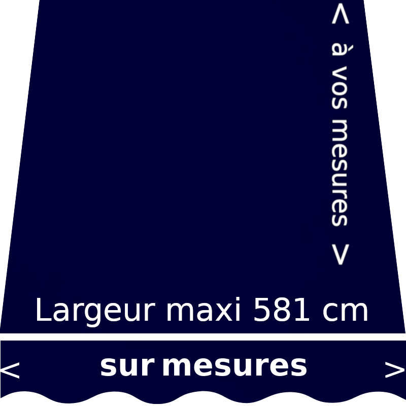 Toile acrylique pour store extérieur couleur bleu nuit (RAL 5011 bleu acier) et son lambrequin forme : vague