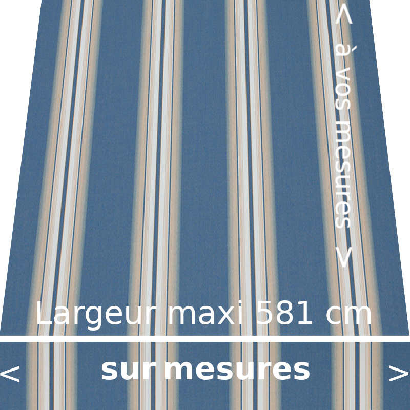 Toile acrylique pour store banne collection Venezia bleu : rayures fantaisies. À vos dimensions avec lambrequin droit