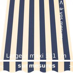 Toile acrylique collection classique à rayures égales couleurs marine et crème : avec lambrequin en forme de vague