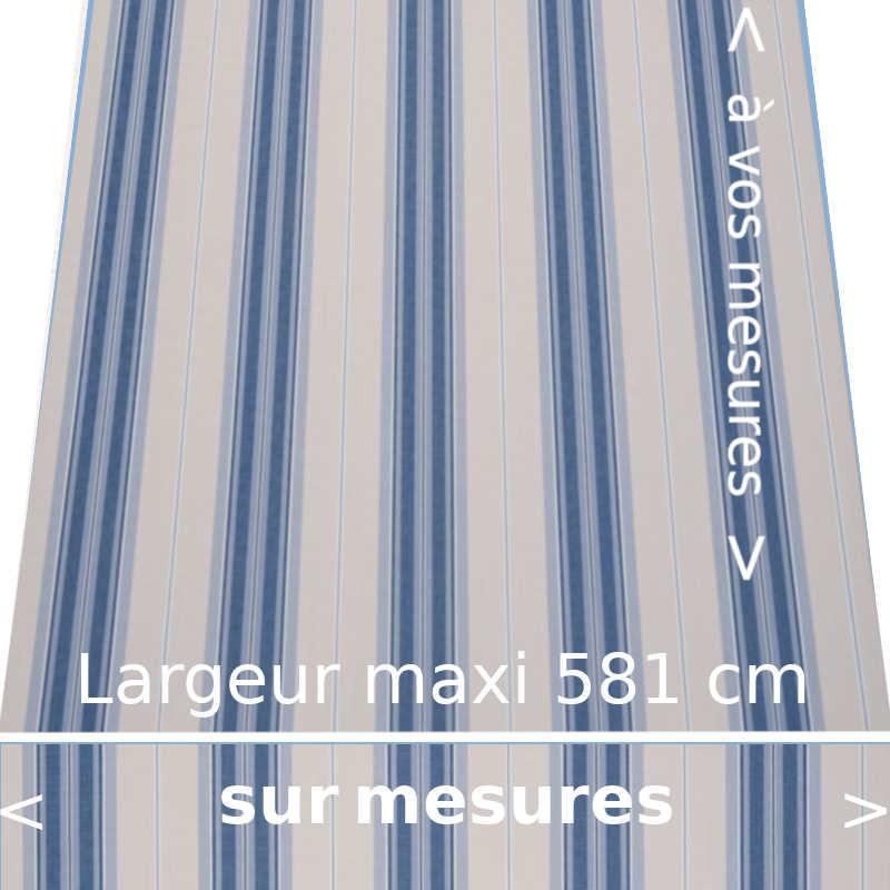 Toile acrylique rayée collection Rome bleu : à vos dimensions de store avec lambrequin droit