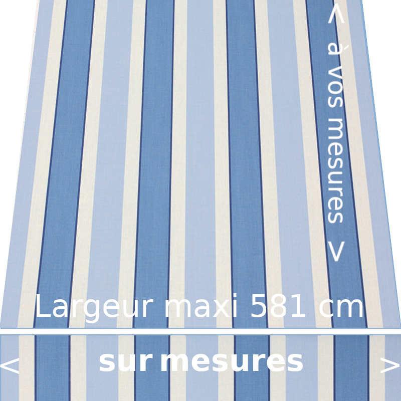 Toile acrylique pour store banne collection Hardelot bleue avec lambrequin droit confectionné à vos dimensions.