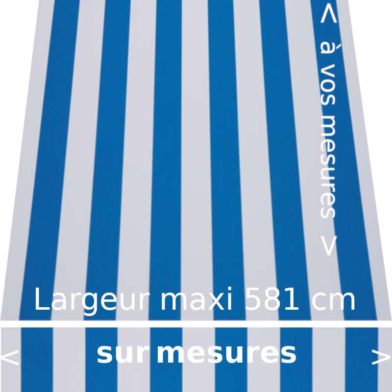 Toile acrylique collection classique à rayures égales couleurs bleues et blanc confectionnée à vos dimensions avec lambrequin dr