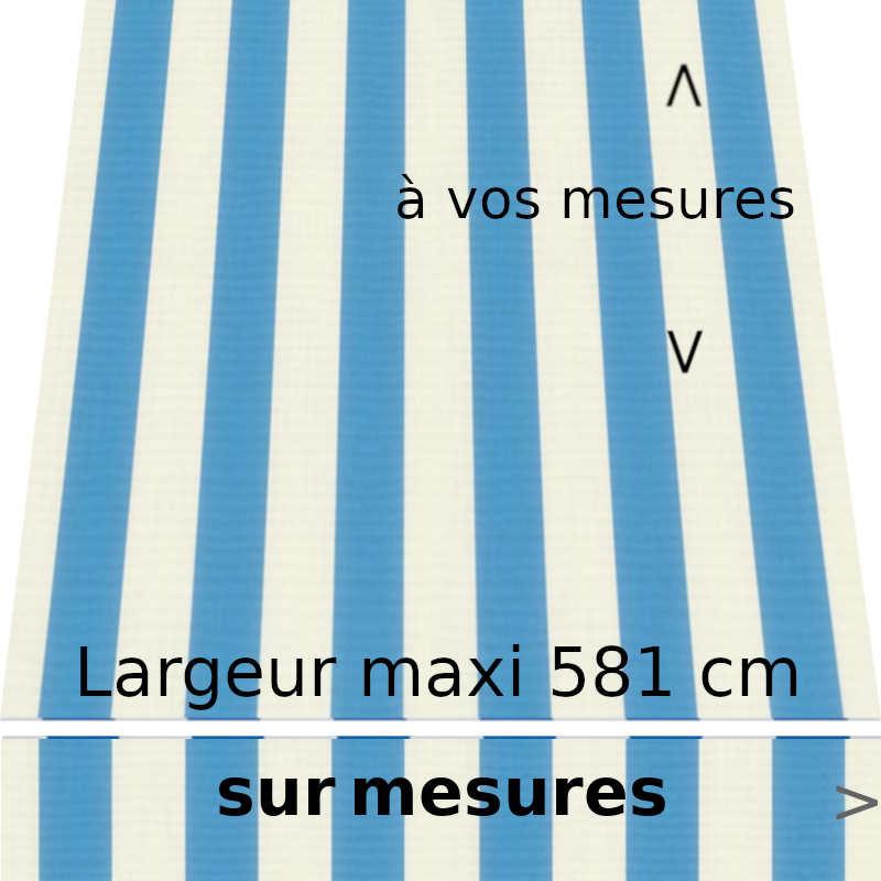 Toile acrylique collection classique blanc et bleu azur et lambrequin de forme droite