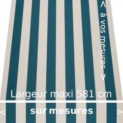 Toile acrylique collection classique rayures égales couleurs bleu canard et blanc. Lambrequin droit.