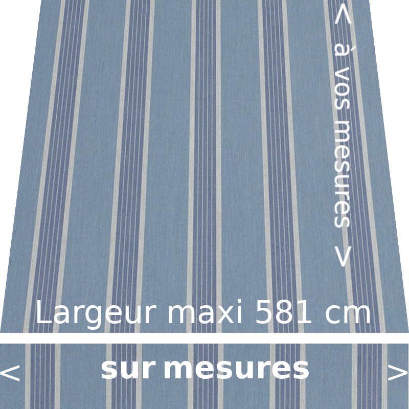 Toile acrylique rayée collection Manosque bleu avec lambrequin de forme droite conçue aux dimensions de votre store
