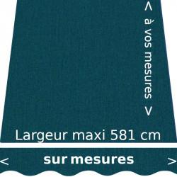 Toile pour store extérieur couleur uni bleu canard chiné (RAL 5020 bleu océans) et lambrequin en forme de vagues confectionnés à