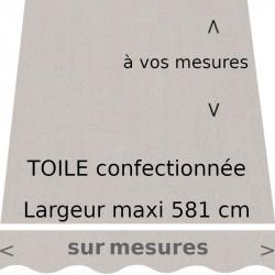 Toile couleur Gris Pierre, confectionnée sur mesures et lambrequin en forme de vague